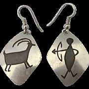 Vintage Native American Hunter and Deer Pierced Earrings