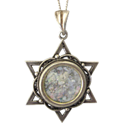 "Vintage Sterling Silver Roman Glass Star of David Pendant With Sterling 19"" Chain"