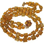 """Vintage Signed Western Germany Two Strand 24"""" Amber Plastic Bead Necklace"""
