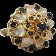 Vintage 18K Gold Moonstone and Blue Spinel Princess Harem or Moghul Ring, Size 5-3/4