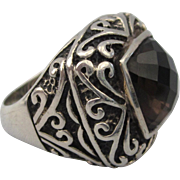 Bold Sterling Silver and Cushion Cut Smoky Brown Smoky Quartz Size 7-1/2 Ring