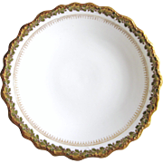 "SALE Antique Blakeman & Henderson Limoges France 12-1/8"" Charger Platter, White With Leaf"
