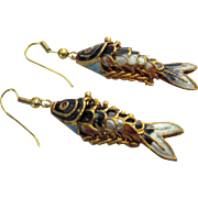 Vintage Enamel Articulated Fish Pierced Dangle Earrings