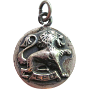 Signed Cini Vintage Leo Zodiac Sterling Silver Charm Pendant, Three Dimensional