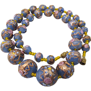 "Romantic Blue and Pink Venitian Glass Wedding Graduated Bead 19"" Necklace"