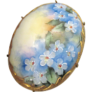 Exquisite Antique Hand Painted Porcelain Hand Painted Brooch With Lush Gilt Border
