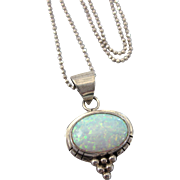 """Signed RB Running Bear Sterling Silver Opal NA Pendant With 16"""" Sterling Italian Chain"""