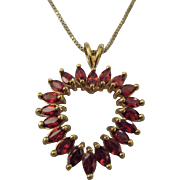 "Romantic Vermeil Gold Over Sterling Garnet Open Heart 18"" Pendant Necklace With Chain"