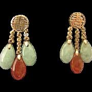 Lovely estate 14K Gold Jade Dangles Pierced Earrings, Asian Design