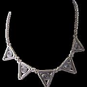 Vintage Sterling Silver Geometric Modernist Choker Necklace