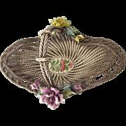 "Vintage Capodimonte Handled 14"" Wedding Basket Rope Design"