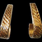 14K Yellow Gold Textured Hoop Pierced Earrings, 3/4 Open Hoop
