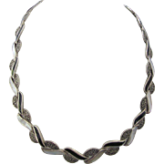 Sleek Sterling Silver, Onyx, MOP and Marcasite Braided Choker Necklace, 34.1 Grams