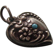 Exceptional Victorian Sterling Repousse Puffy Heart Charm, Turquoise, Inscribed