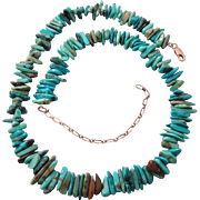 Vintage Sterling and Turquoise Stick Bead Necklace