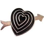Bold Sterling Silver Heart and Arrow Brooch, 24.6 Grams