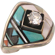 Sterling Silver Gemstone Inlaid Unisex Size 10-1/4 Ring