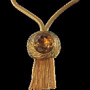 Bold Vintage Citrine Rhinestone Slide Fringe Necklace