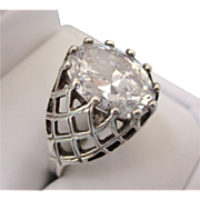 Bold Signed Kabana Sterling Silver CZ Ring, Size 9-1/4