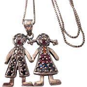 Vintage Sterling Silver Boy and Girl Pendant Necklace