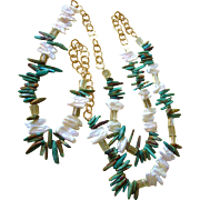 "Vintage Bold Turquoise, Freshwater Pearl and Crystal 50"" Rope Runway Necklace"