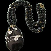 Vintage Caged Black Onyx Carved Pendant Necklace