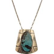Vintage Southwest Handmade Sterling and Turquoise Lavaliere Necklace