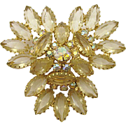 Gorgeous Juliana D&E Unfoiled Pale Lemon Rhinestone Brooch