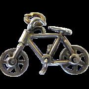 Vintage Sterling 3-D Mechanical Bicycle Bike Charm Pendant