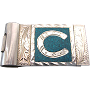 Signed Plata de Jalisco Sterling and Turquoise Money Clip