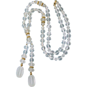 """Fabulous Vintage Lucite 40"""" Long Lariat Necklace, Clear as Icy Crystal!"""