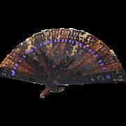Beautiful Vintage Celluloid Faux Tortoise Folding Fan With Purple Ribbon