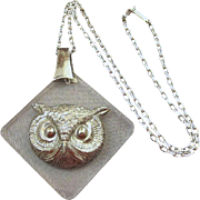 Signed H. Carnegie Lucite Owl Pendant With Napier Chain
