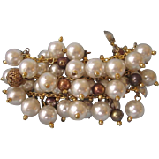 Vintage Faux Pearl and Gilt Wide 'Cha Cha' Bracelet, Chunky and Fabulous