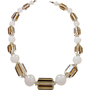 Gorgeous Art Deco Hand Knotted Geometric Crystal Bead Necklace, Unusual Beads!