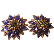 Signed Craft Bold Clip Back Earrings in Goldtone, Purple and Green - Dazzling!
