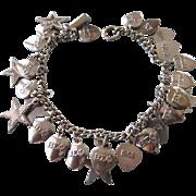 1960's & 1970's Sorority Charm Bracelet, Sterling Silver Bracelet With Silverplate Sigma Phi .