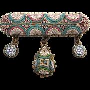 Vintage Italian Micromosaic Brooch with Dangles