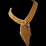 Fabulous mid-20th Century Fringe Necklace With Rhinestones