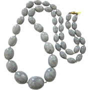 """Signed Kenneth Lane 32"""" Long Gray Marbled Lucite Hand Knotted Bead Necklace"""