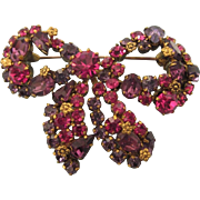 Dazzling Vintage Austrian Raspberry Rhinestone Bow Brooch, Floral Accents