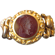 SALE Ornate Sweetheart Expandable Bracelet with Carnelian Intaglio Cameo, Amer. Queen Plate