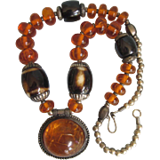 Bold Vintage Ethnic Inspired Faux Amber Pendant Necklace