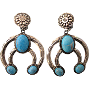 Signed Dauplaise Southwestern Naja Faux Turquoise and Silvertone Clip Back Earrings