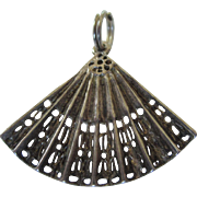 Vintage Sterling Silver Lacy Filigree Fan 3-D Charm Pendant