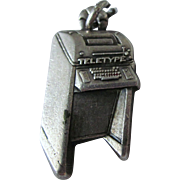 Sterling Bell Telephone Teletype Machine Charm