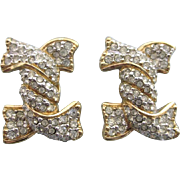 Signed Swarovski Crystal Pave Knot Clip Back Earrings, Swan Mark