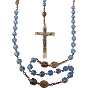 Vintage Blue Glass Rosary With Filigree Caps, Italy, With St. Gerard Medal
