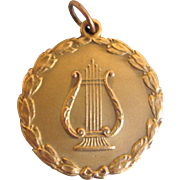 1927 GF Music Festival Pendant Medal With Lyre and Garland, Inscribed
