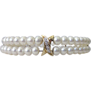 Freshwater Pearl, Sterling and Diamond Accent Two Row Bracelet